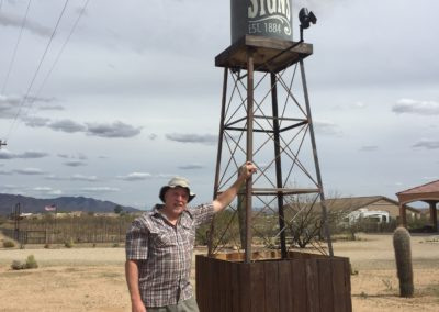 hand lettered water tower sign